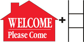 Welcome Please Come In House Red print